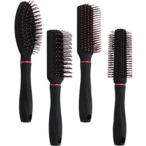 com-four 4-Teiliges Stylingset mit Verschiedenen Haarbürsten mit Softgriff