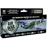 """Vallejo """"Model Air WWII RAF Day Fighters"""" Acrylic Paint Kit for Air Brush - Assorted Colours (Pack of 8)"""