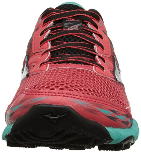 Mizuno Wave Hayate 2 Synthétique Chaussure de Course Cayenne-Silver-Waterfall