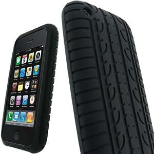igadgitz Silikon Hülle Etui Case Schutzhülle Tasche in Schwarz mit Reifenprofil-Design für Apple iPhone 3G & 3GS 8gb 16gb & 32gb + Display Schutzfolie