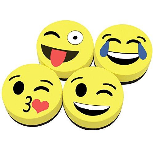 meetory 4Stück Smiley Faces Whiteboard Radiergummi, 5,1cm rund magnetisch Dry Erase ideal für...
