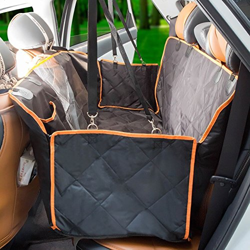 Sitzbezug für Hunde mit Seitenklappen, große Sitzbezug wasserabweisender Rückseite mit Barriere Netzfach für Fenster Sichtglas für Haustiere–Sitzbezug für Hunde nicht aufblasbar und Hängematte Durable mit Ankern, Sitz für LKW, gesehen, Autos–maschinenwaschbar
