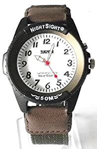 QBD Gents Waterproof Watch With EL Night Sight - Nylon/Canvas Military Army Strap (Brown)