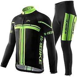 INBIKE Maillot de Ciclismo, Culotte Ciclismo Hombre Invierno de Manga Larga Jersey + Pantalones(XL)