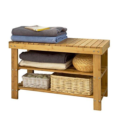 SoBuy Schuhregal, Sitzbank aus hochwertigem Bambus mit 2 Jahren Garantie, FSR02-N B70xT30xH45 (Natur)