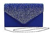 Viloree Damen Satin Abendtasche Clutch Tasche Envelope Handtasche Umhängetasche Glitzer Blau