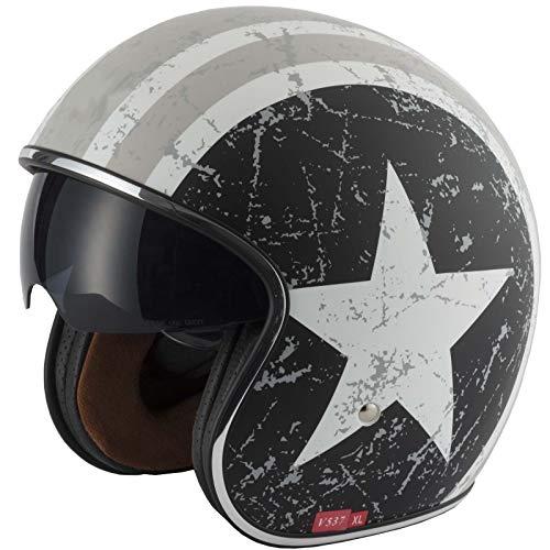 VCAN V537 Motorradhelm Jet Scooter offener Helm Vespa Urbani Open Face Touring Vintage Stile, REBEL STAR S(55-56cm) grau (Vespa Vintage Helm)