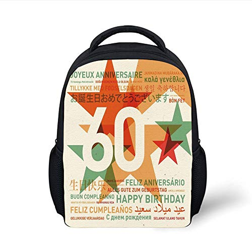 60th Birthday Decorations,World Cities Birthday Party with Abstract Stars,Green Vermilion and White Plain Bookbag Travel Daypack ()