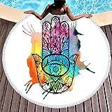 Arco etnico arcobaleno Hamsa mano con malocchio pittura stampa spiaggia rotonda con nappe acquerello Fatima mano geometria Totem spiaggia buona fortuna spiaggia Roundie Taglia unica bianco