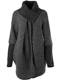 Frauen Damen Bubble Coatigan Italian Lagenlook Quirky Schicht Wool Zip Langarm-Cocoon-Mantel-Jacken Poncho Cape Oversize