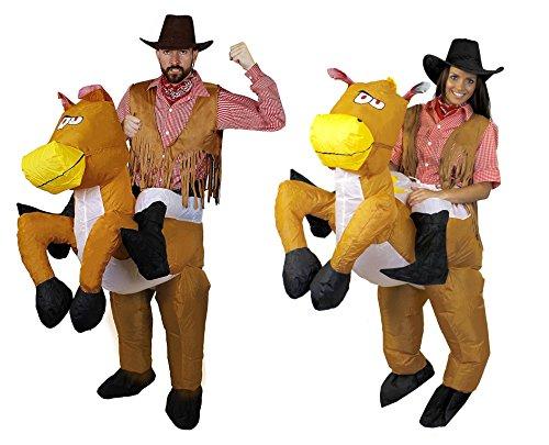 Indianer Cowgirl Und Kostüm Paar - ILOVEFANCYDRESS Cowboy Paar +2 Pferde+2 KOSTÜME+2WESTERNHÜTE=Trage Mich -Reite Mich Verkleidung=5 Verschiedenen GRÖSSEN=MÄNNER-Medium + Frauen-Medium
