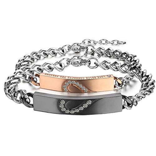 Cupimatch 2pcs Brazaletes pulseras de corazón para parejas enamorados diseño romantico Acero Inoxidable, San Valentín