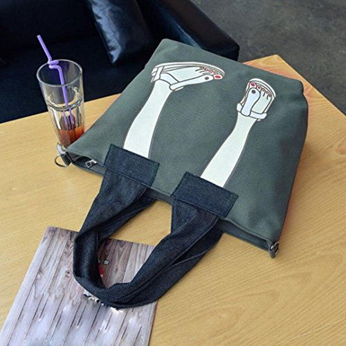Canvas Borsetta, Donne Canvas Borsetta Borsa Spalla Borsa Messenger Crossbody Bag Tote by Kangrunmy Verde