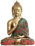 Exotic India Señor Buda en Abhaya Mudra (Tibetano Budista deidad)-Estatua de Bronce con Incrustaciones