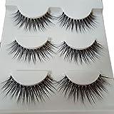 Bluelans® 3 Paar Quer Lange Falsche Künstliche Wimpern Natürlich Schwarz Eyelashes Wimpernverlängerung Make-up