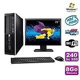 Lot PC HP Elite 6000 Pro SFF E5400 2.7 GHz 8gb 240Go SSD WIFI W7 Pro + Screen 22