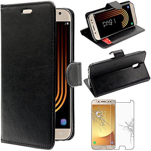 ebestStar - Compatible Coque Samsung J7 2017 Galaxy SM-J730F Etui PU Cuir Housse Portefeuille Porte-Cartes Support, Noir +Film Protection Verre Trempé [Appareil: 152.4 x 74.7 x 7.9mm, 5.5'']