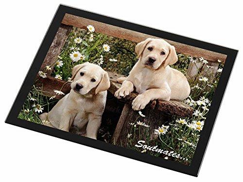 Yellow Labrador Puppy Dogs 'Soulmates' Glas Tischset mit schwarzem Rand Weihnach