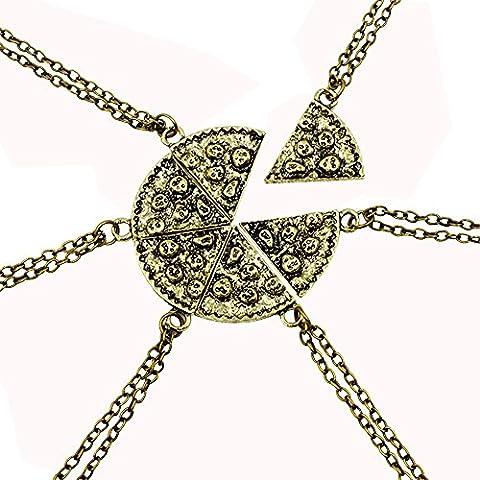 Contever® 1 Set of 6 pcs Antique Pizza Slice Pendant Friendship Necklace - Golden Color