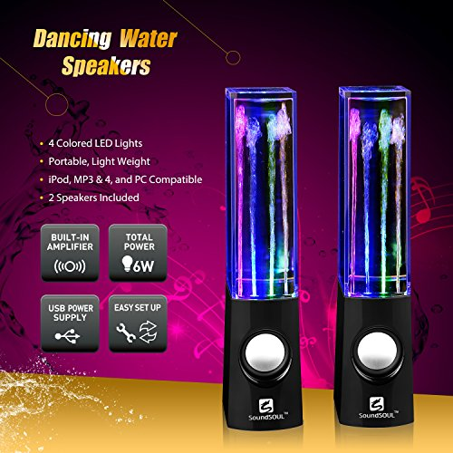 Led-Speakers-SoundSOUL-Water-Fountain-Speakers-Mini-amplifier-USB-Dancing-Speakers-Best-Music-Gifts-for-PCMacMP3-PlayersMobile-PhonesTablets-Dark-Black