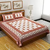 Uniqchoice Jaipuri Print 100% Cotton Rajasthani Tradition King Size Double Bedsheet With 2 Pillow Cover(Beige Color)