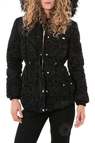 DESIGUAL - Giacchetto piumino cappotto con cappuccio da donna marlene 36 (xs) nero
