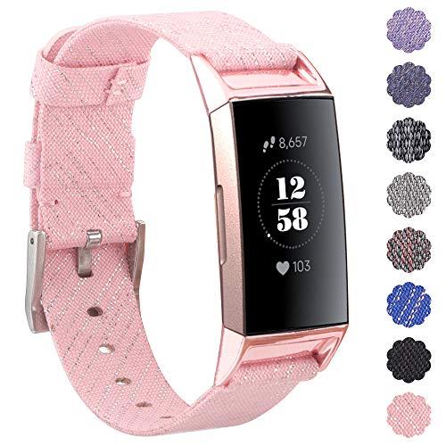 KIMILAR Armbänder Kompatibel mit Fitbit Charge 3 Armband Stoff, Schnellspanner Nylon Ersatzband Armbänder mit Edelstahl Handgelenk Verschluss für Fitbit Charge 3 & SE Fitness Tracker