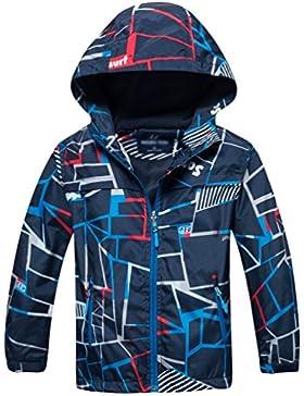 Jitong Chaqueta estampada de esquí para Niños Cómodo Cálido Chaquetas Abrigos deportiva con capucha