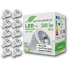 10 unidades de spots LED greenandco® GU10 / 7 vatios / 500 lúmenes / 2700 K (blanco cálido) / COB LED / 60° ángulo de dispersión / 230 voltios AC