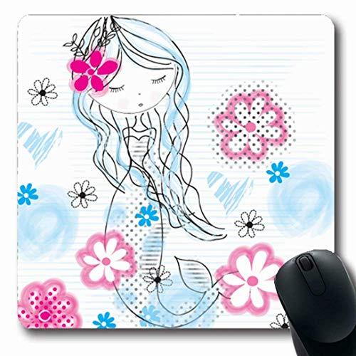 Kind Kostüm Marine - Luancrop Mauspads für Computer Kleid Charakter Meerjungfrau Mädchen Blumen Girlie Marine Prinzessin Kind Kostüm Geschichte rutschfeste längliche Gaming-Mauspad