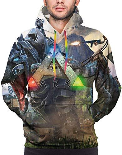 Rogerds Kapuzenpullover Mens ARK-Survival-Evolved Game Logo Winter Hoodie Sweatershirt Langarm-Pullover Hoodies for Men Clothes