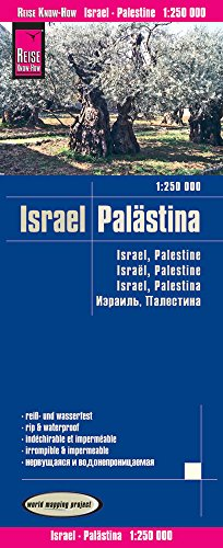 Israel, Palestina, mapa impermeable de carreteras. Escala 1:250.000 impermeable. Reise Know-How.