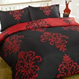 Savoy Red Black Scroll Reversible King Size Duvet Quilt Cover Bedding Set