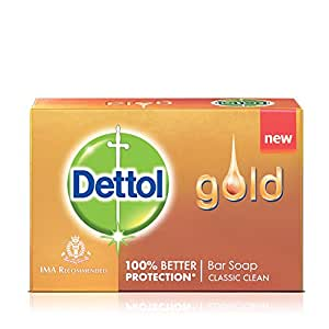 Dettol Gold Bar Classic Clean Soap, 125g (Pack of 3)