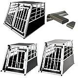 Dirty Pro Tools en aluminium pour chien Pet Cage Cage de transport de voiture de voyage Boîte de transport pour animal domestique chenil de transport ((Double Grande 104*91*70cm))