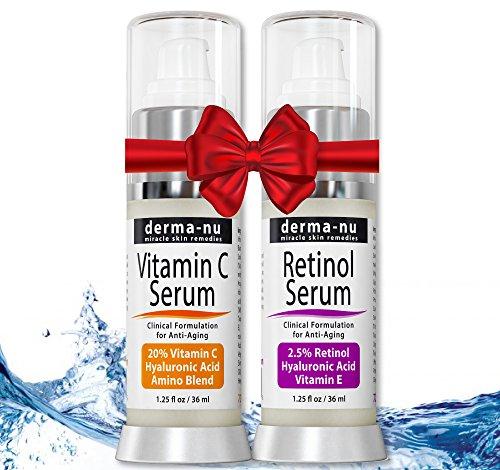 Conjunto de un suero con 2,5% de retinol y un suero de vitamina C, con ácido hialurónico y vitamina E. Sueros antienvejecimiento de calidad para líneas finas y arrugas. Tratamiento clínicamente probado para la piel del rostro. 36 ml