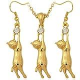MESE London Damen Katze Halskette und Ohrringe Einstellen aus 18 Karat Gelbgold Überzogen mit 50-55 cm Länge Einstellbar