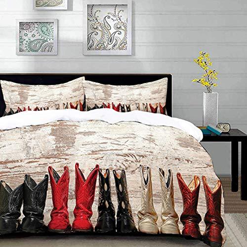 Yaoni Bettwäsche-Set, Mikrofaser,Western, American Legend Cowgirl Lederstiefel Rustikal Wild West Theme Kultur Folkart Print, Teal Pink, 1 Bettbezug 240 x 260cm + 2 Kopfkissenbezug 80x80cm