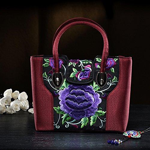 Gestickte Tasche Handtasche Bestickte Messenger Bag Handtasche Umhängetasche Canvas Bag , Weinrot - Canvas Gestickte Handtasche