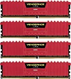 Corsair CMK16GX4M4C3200C16R Vengeance LPX 16 GB (4 x 4 GB) DDR4 3200 MHz C16 XMP 2.0 High Performance Desktop Memory Kit, Red