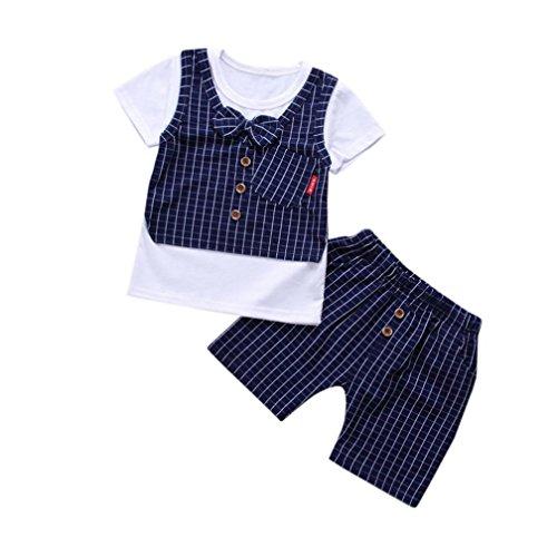 dungsset Set Kurzarm T-Shirt und Shorts Anzug festlich Smoking Outfits 80 90 100 110 1-4J Mode Tops Kurze Hosen (Navy, Alter: 2J) (Haut Anzug Smoking)