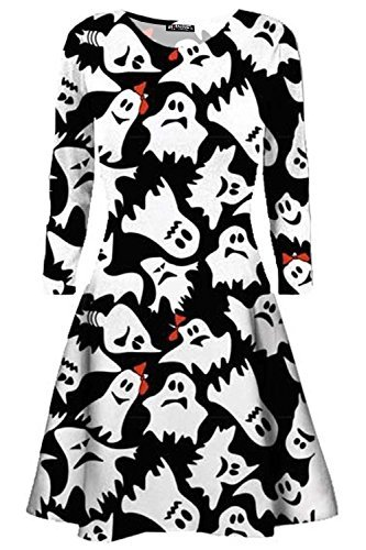 Be Jealous Damen Halloween Kostüm Ghost Moon Bedruckt Ausgefallen Party Swing Minikleid UK Übergröße 8-32 - Ghost weiß schwarz, M/L (UK 12/14) (Weißes Kleid Ghost Kostüm)