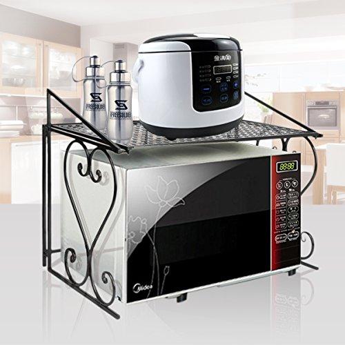 Arbeitsplatte Regal (FullBerg Schwarz Mikrowelle Regal für Küche und Arbeitsplatte - 55x46x36cm Küchenregal - Mikrowellenständer Metall Gewürzregal - belasted bis 20KG)