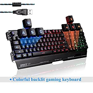 SADES K8 USB Verkabelt PC Computer Gaming-Tastaturen 19 Nicht-Konflikt Tasten Metall Fall 7 Farben Blacklight (Schwarz)