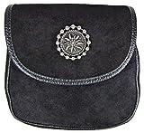 Trachten Umhängetasche Selina mit Edelweiß Applikation - Schwarz - Handtasche zu Dirndl und Lederhose