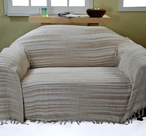 Homescapes Bed Sofa Throw Cotton Chenille Tie and Dye Beige 220 x 240 cm or 87 x 94 inches