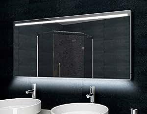 Specchio Bagno Cornice Di Alluminio 140 X 60 Cm Luce Led