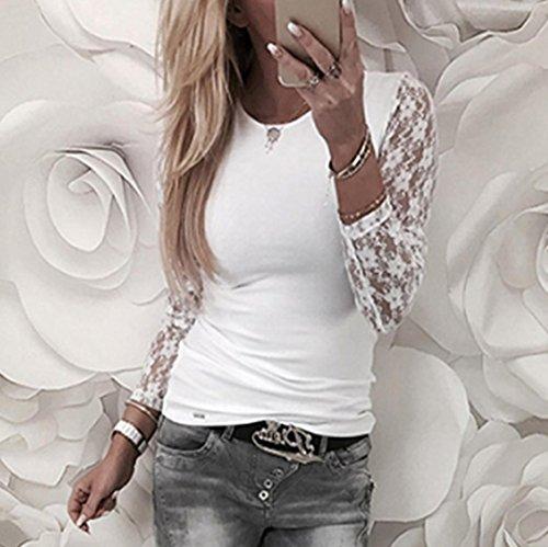 AmazingDays Maglia a manica lunga - Monospalla - Stampa animalier - Donna Bianco
