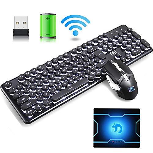Hoopond 2.4G combinación de teclado y mouse inalámbricos recargables, Retro punk blanco respira teclado de juego retroiluminado +6 teclas arco iris flash 2400DPI mouse + mouse pad (luz blanca y negra)