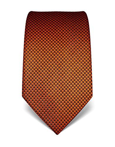Vincenzo Boretti Herren Krawatte reine Seide Hahnentritt Muster edel Männer-Design gebunden zum Hemd mit Anzug für Business Hochzeit 8 cm schmal/breit orange